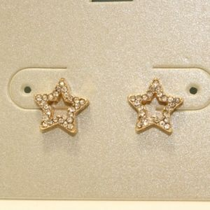 Anthropogie Lydell Dainty Stud Earrings Star Pave